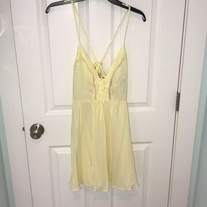 Forever 21 Dresses - Yellow Lace Up Sun Dress